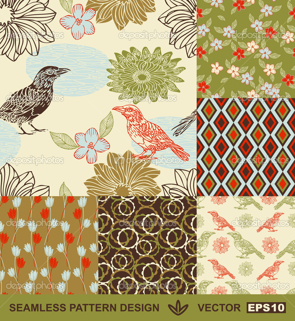 Abstract Birds Backgrounds Set Graphic Flowers Vector Wallpapers Seamless Patterns Fabrics And Wrappings