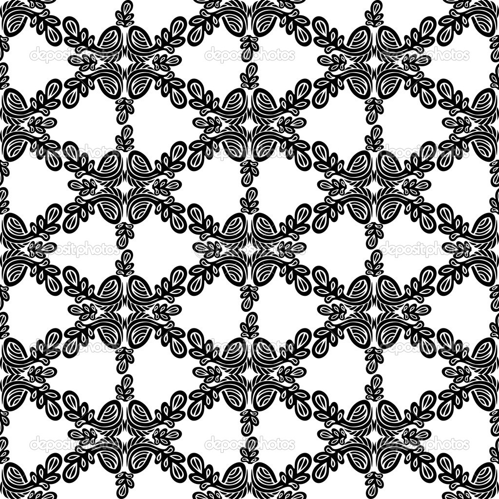 Abstract Damask Background Black And White Fashion Seamless