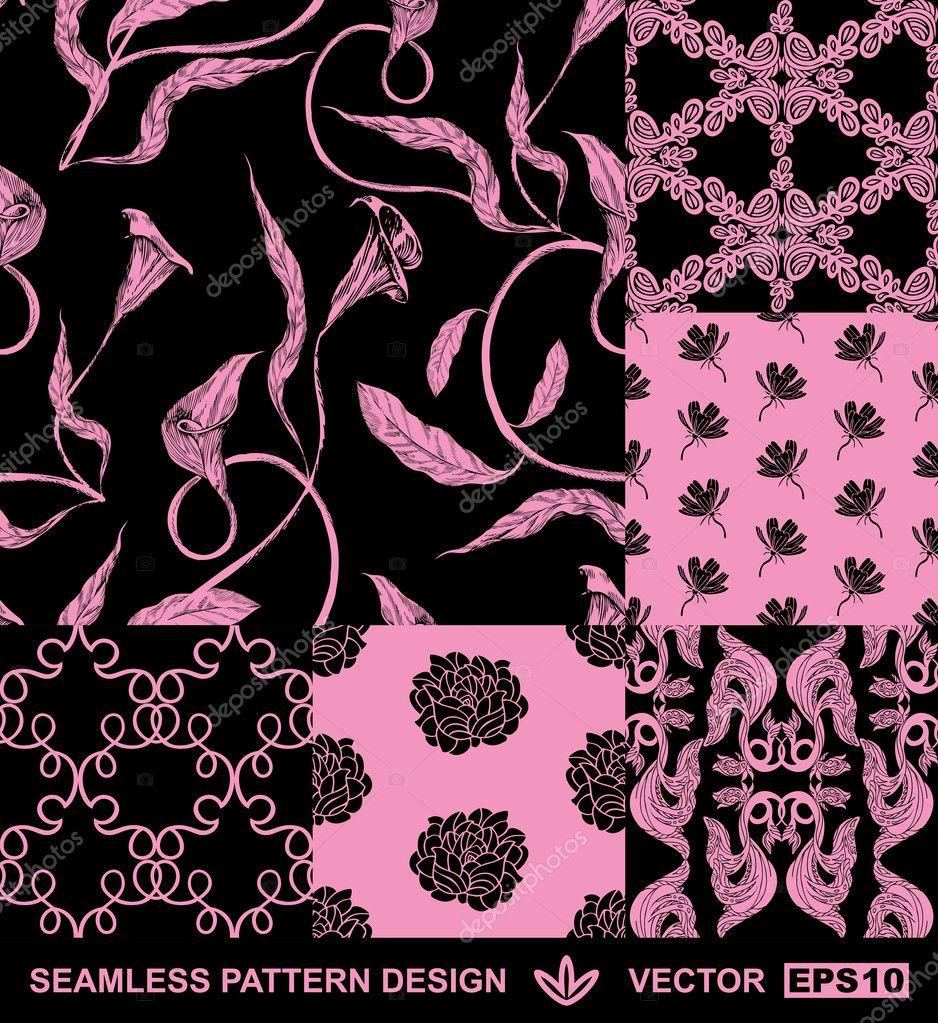 Abstract backgrounds set, damask fashion seamless pattern ...