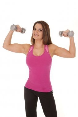 Woman pink tank show weights