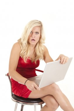 Woman red dress shocked with computer