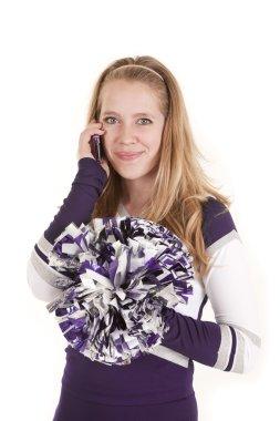 Cheerleader smile on phone