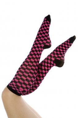 Pink and black socks toes pointed