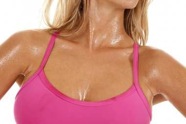 Woman sweat chest pink white