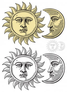 Vector illustration of Sun and Moon with faces