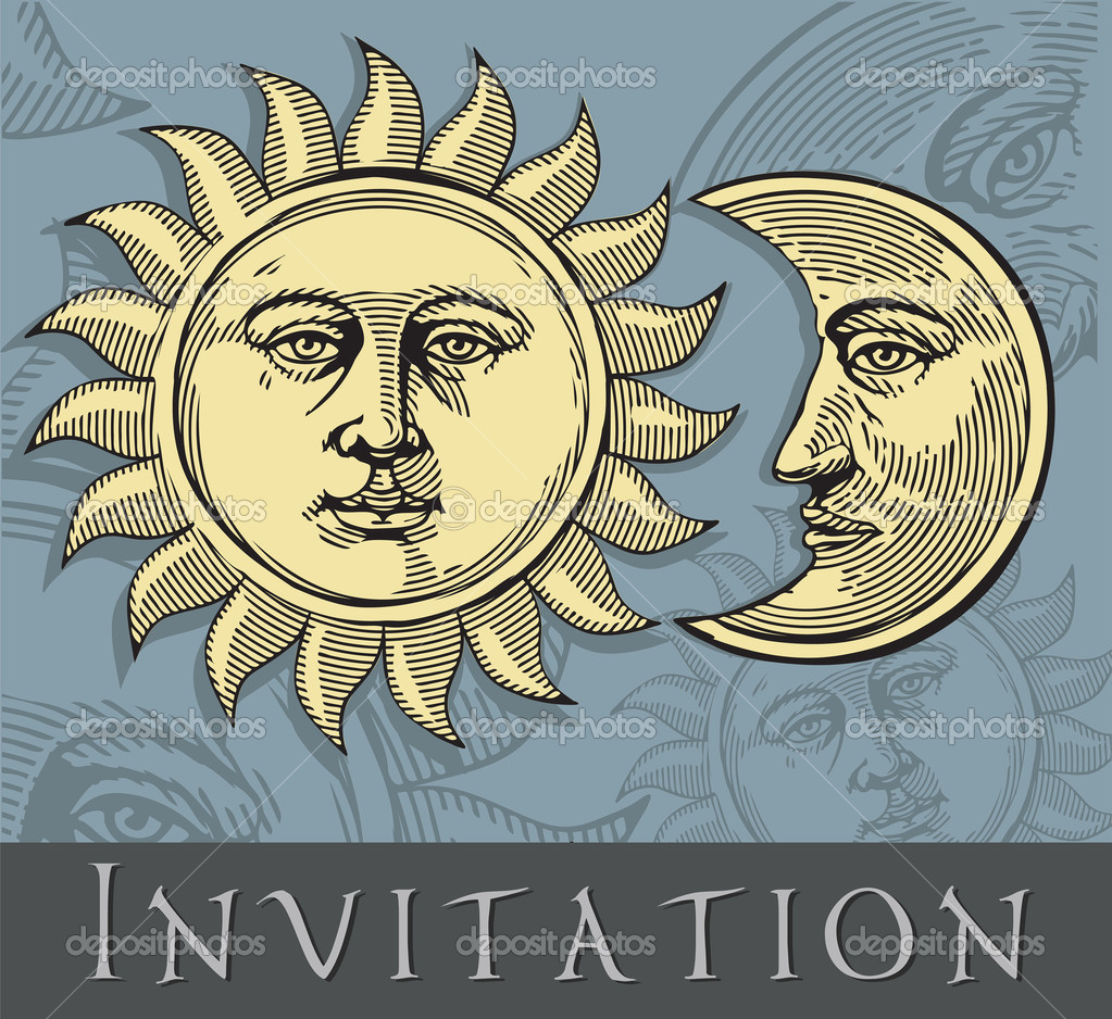Sun and Moon with faces in engraved style