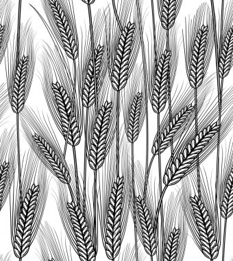 Vector illustration of seamless wheat ears background