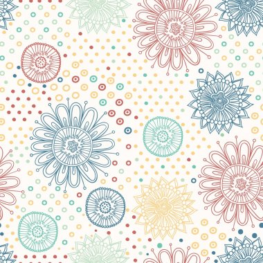 Beautiful flower seamless pattern background with dots and flowers