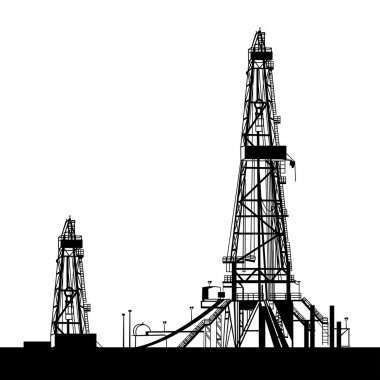 Oil rig silhouettes