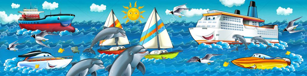 Cartoon seascape with different ships
