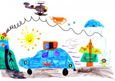 Child's drawing on paper
