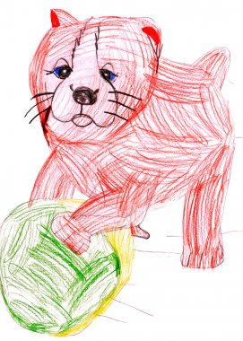 Dog playing with a ball. child's drawing.
