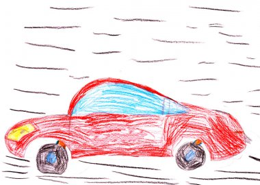 Red racing car. child's drawing