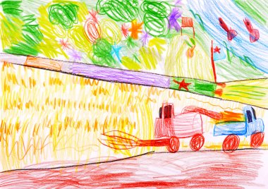Child's drawing. Combine harvesting a wheat and space rocket.