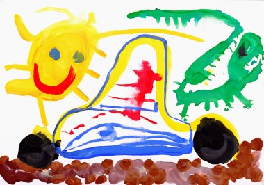 Children's drawing water color paints. Car, sun and lizard.