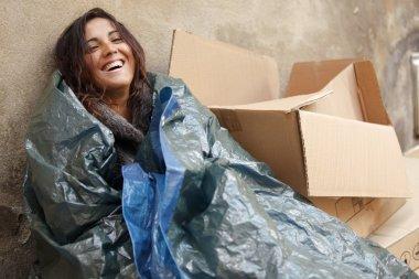 Happy poor woman