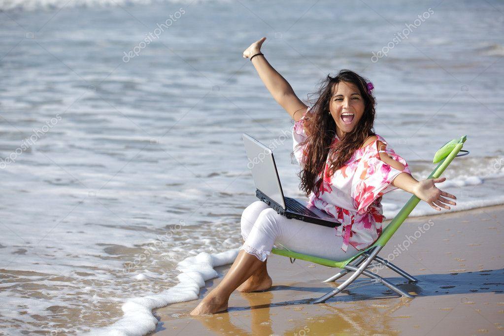 Woman working at sea