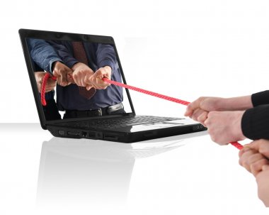 A black laptop computer with a tug of war stock vector