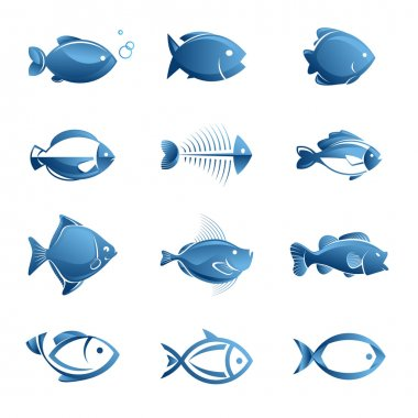 Set of vector fish icons stock vector
