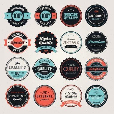 Set of labels and and badges