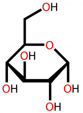 Glucose (α-D-Glucopyranose) structural formula