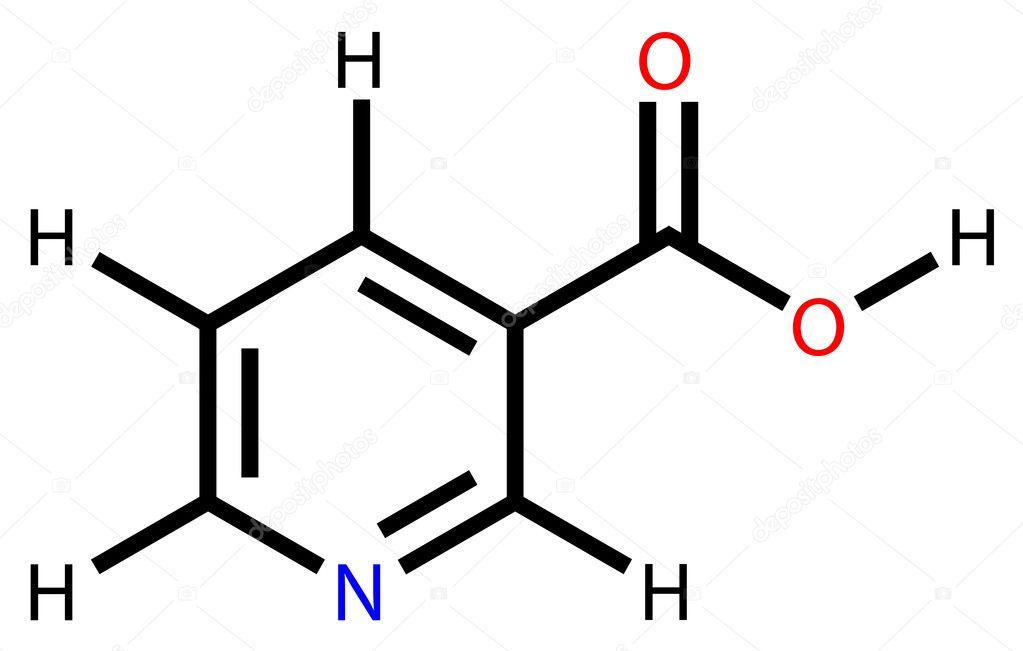 Niacin Vitamin B3 Or Pp Structural Formula Stock Vector