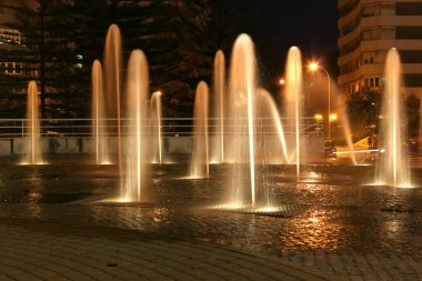Beautiful multiples fountains at night