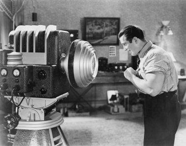 Man posing for sc -fi camera