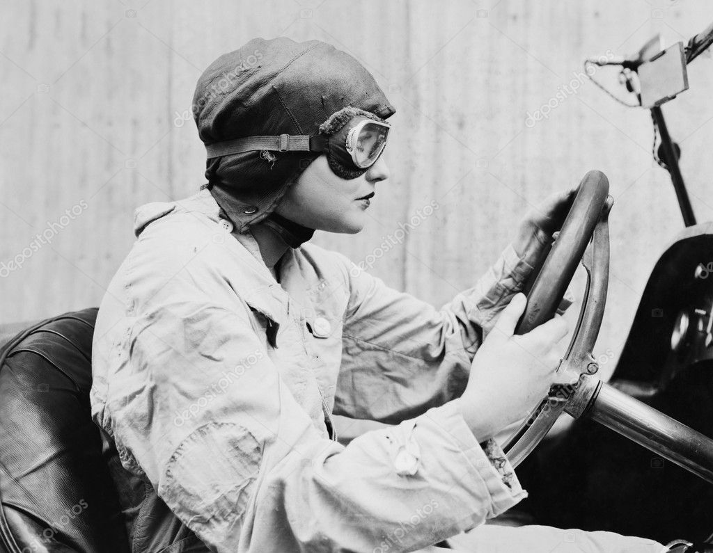 Portrait of female racecar driver