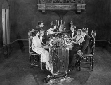 Group of having dinner party