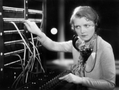 Young woman working as a telephone operator stock vector