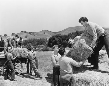Men working on a farm loading hay