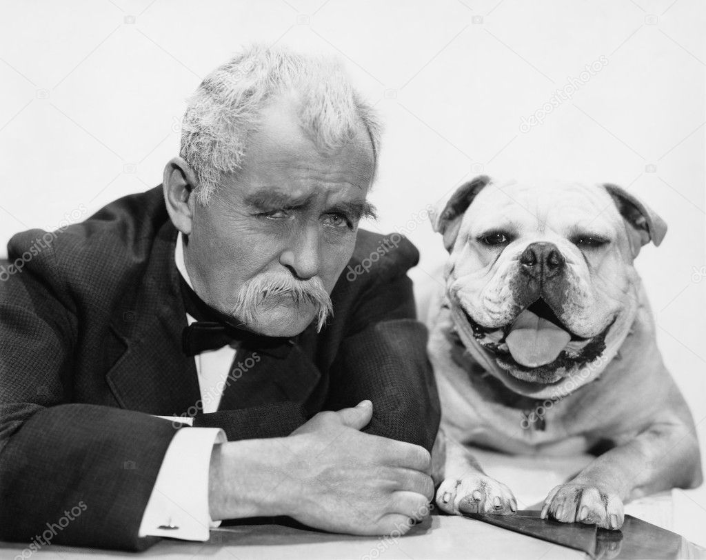 Portrait of man and dog