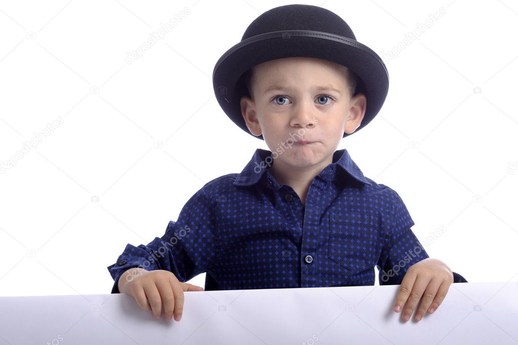 6d61d392948 Little boy with ad space and black bowler hat — Stock Photo ...