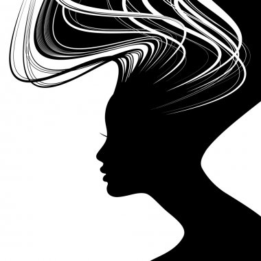 Woman face silhouette with wavy hair clip art vector