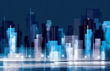 Abstract City skyline at night stock vector
