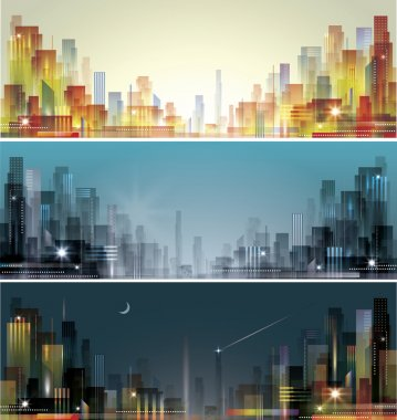 City landscape at daylight, evening and night. clip art vector