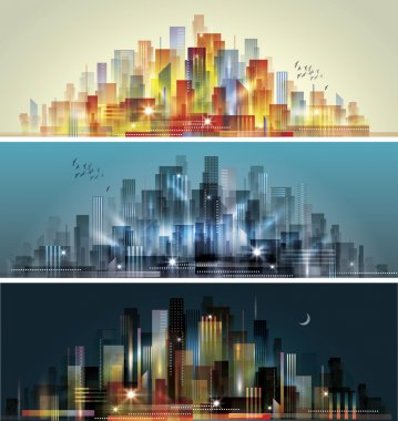 City landscape at daylight, evening and night. stock vector