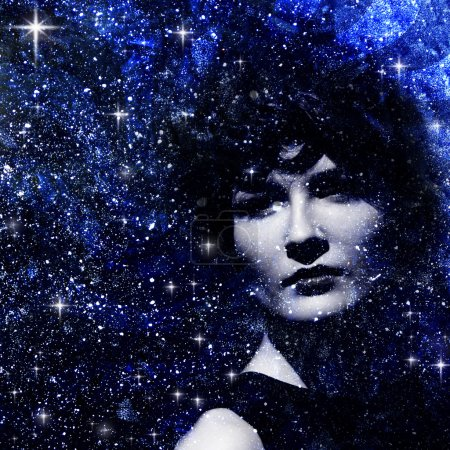 Star dust. Abstract female portrait