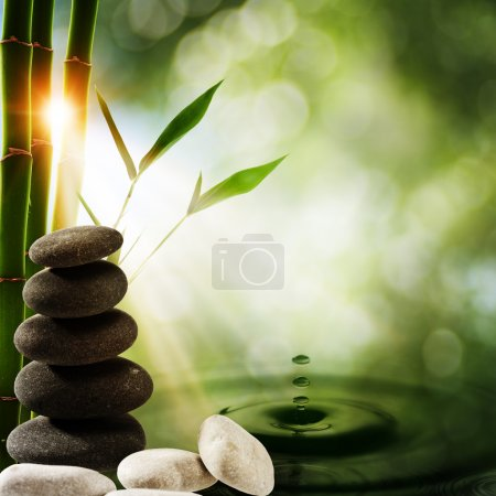 Photo for Oriental eco backgrounds with bamboo and water splash - Royalty Free Image