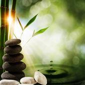 """Постер, картина, фотообои """"восточные экологические фоны с бамбуком и водным всплеском"""""""
