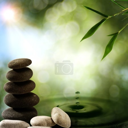 Photo pour Origines asiatiques eco avec splash de bambou et de l'eau - image libre de droit