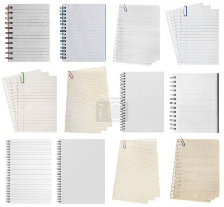 Photo for Paper page notebook. textured isolated on the white backgrounds. collection - Royalty Free Image