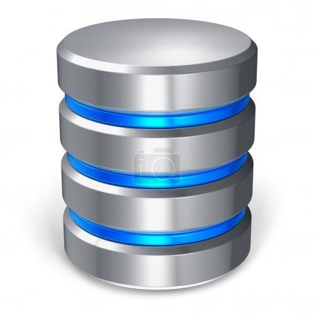 Foto de Disco duro y el icono de la base de datos aislados sobre fondo blanco - Imagen libre de derechos