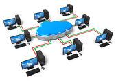 Cloud výpočetní techniky a počítačových sítí koncept