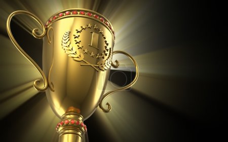 Photo for Award winning and championship concept: golden glowing trophy cup on black background - Royalty Free Image