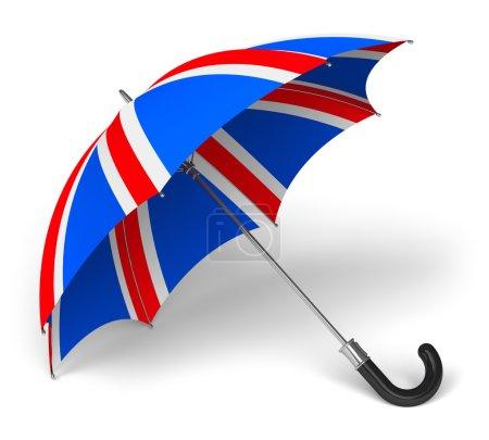 Photo pour Parapluie avec drapeau britannique isolé sur fond blanc - image libre de droit