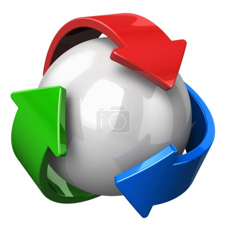 Photo pour Symbole abstrait de recyclage isolé sur fond blanc - image libre de droit