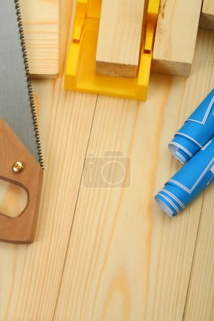 Composition of construction tools with copyspace