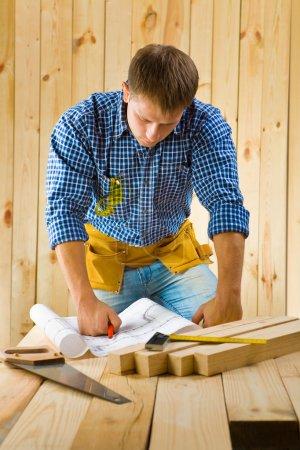 Worker near table